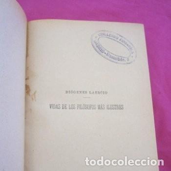 Libros antiguos: : VIDAS OPINIONES DE LOS FILÓSOFOS MÁS ILUSTRES LAERCIO TOMO 1 1914. - Foto 3 - 195231752