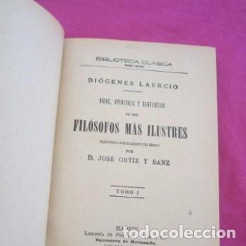 Libros antiguos: : VIDAS OPINIONES DE LOS FILÓSOFOS MÁS ILUSTRES LAERCIO TOMO 1 1914. - Foto 4 - 195231752