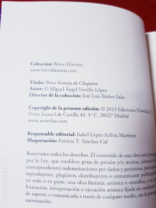Libros antiguos: LIBRO-BREVE HISTORIA DE CLEOPATRA-MIGUEL ANGEL NOVILLO LÓPEZ-EDICIONES NOWTILUS S.L.-COMO NUEVO - Foto 7 - 195243108