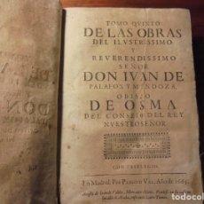 Libros antiguos: PALAFOX. OBRAS. TOMO QUINTO. 1665. Lote 195279727