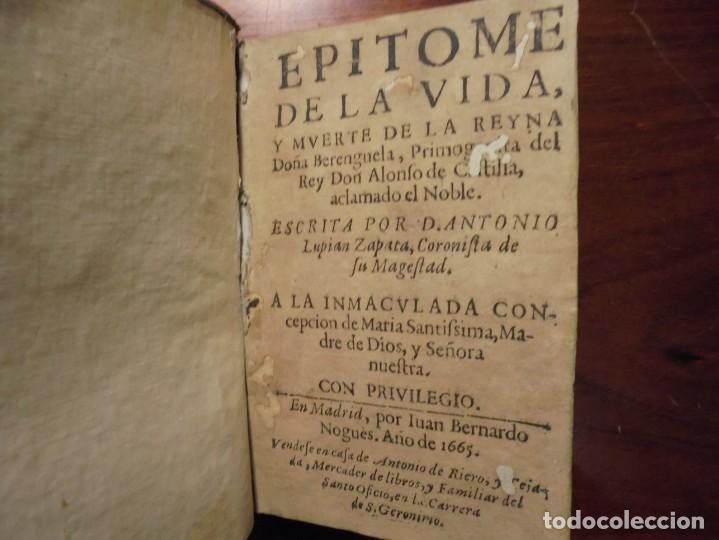HISTORIA DE LA REINA DOÑA BERENGUELA. 1665. LUPIAN Y ZAPATA (Libros antiguos (hasta 1936), raros y curiosos - Historia Antigua)