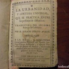Libros antiguos: URBANIDAD Y CORTESÍA. 1744. Lote 195370017
