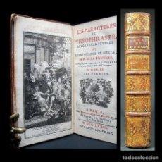 Libros antiguos: AÑO 1733 LOS CARACTERES DEL FILÓSOFO PERIPATÉTICO TEOFRASTO COSTUMBRES DE LA ANTIGUA GRECIA GRABADO. Lote 195719202