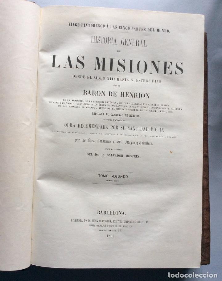 Libros antiguos: Historia General de la Misiones desde el siglo XIII hasta nuestros días .HENRION,1863-3 Tomos - Foto 6 - 195728931