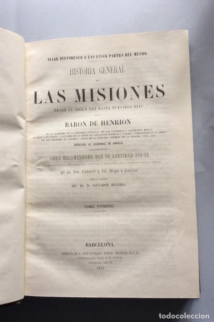 Libros antiguos: Historia General de la Misiones desde el siglo XIII hasta nuestros días .HENRION,1863-3 Tomos - Foto 9 - 195728931