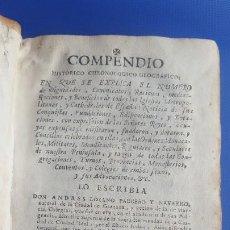 Libros antiguos: 1756. COMPENDIO HISTÓRICO, CHRONOLÓGICO, GEOGRÁFICO EN QUE SE EXPLICA EL NÚMERO DE DIGNIDADES, CANON. Lote 197302766
