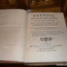 Libros antiguos: RECUEIL D ANTIQUITES DANS LES GAULLES, 1770. LE SAUVAGERE. 29 GRABADOS. Lote 197335331