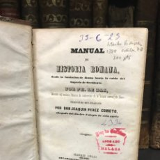 Libros antiguos: MANUAL HISTORIA ROMANA. MADRID 1844. Lote 198993050
