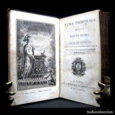 Libros antiguos: AÑO 1786 PRIMERA EDICIÓN SOLO 4 EN EL MUNDO ANTIGUA ROMA NUMA POMPILIUS SEGUNDO REY DE ROMA GRABADO. Lote 203814200