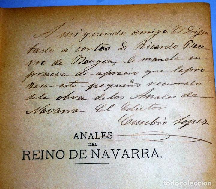 Libros antiguos: ANALES DEL REINO DE NAVARRA. 12 TOMOS (Dedicatoria) - Foto 4 - 205349250