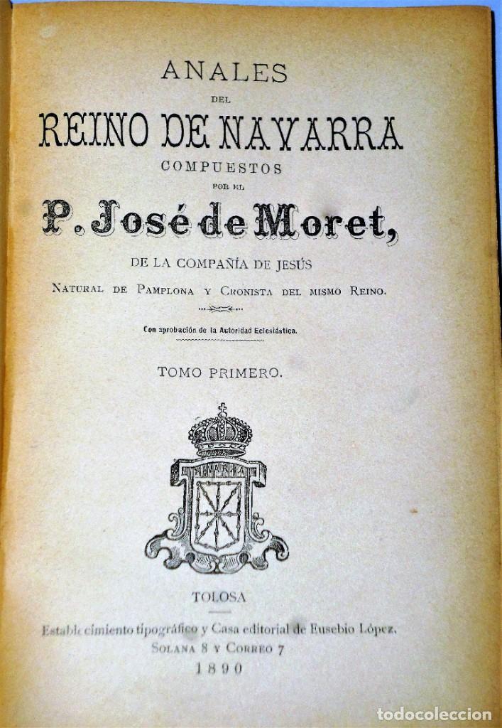 Libros antiguos: ANALES DEL REINO DE NAVARRA. 12 TOMOS (Dedicatoria) - Foto 5 - 205349250