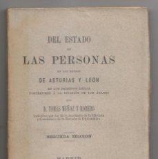 Libros antiguos: TOMÁS MUÑOZ Y ROMERO: DEL ESTADO DE LAS PERSONAS EN ASTURIAS Y LEÓN EN TIEMPO DE LOS ÁRABES. 1883. Lote 206183913