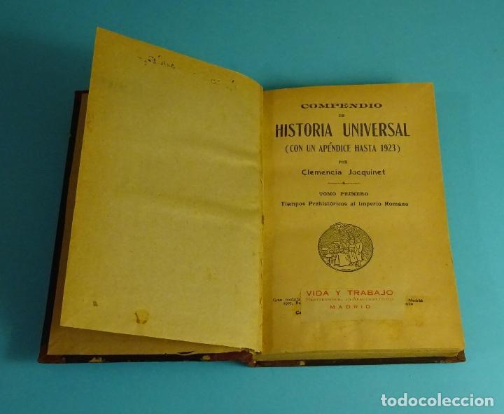 COMPENDIO DE HISTORIA UNIVERSAL TOMO 1º TIEMPOS PREHISTÓRICOS AL IMPERIO ROMANO. CLEMENCIA JACQUINET (Libros antiguos (hasta 1936), raros y curiosos - Historia Antigua)