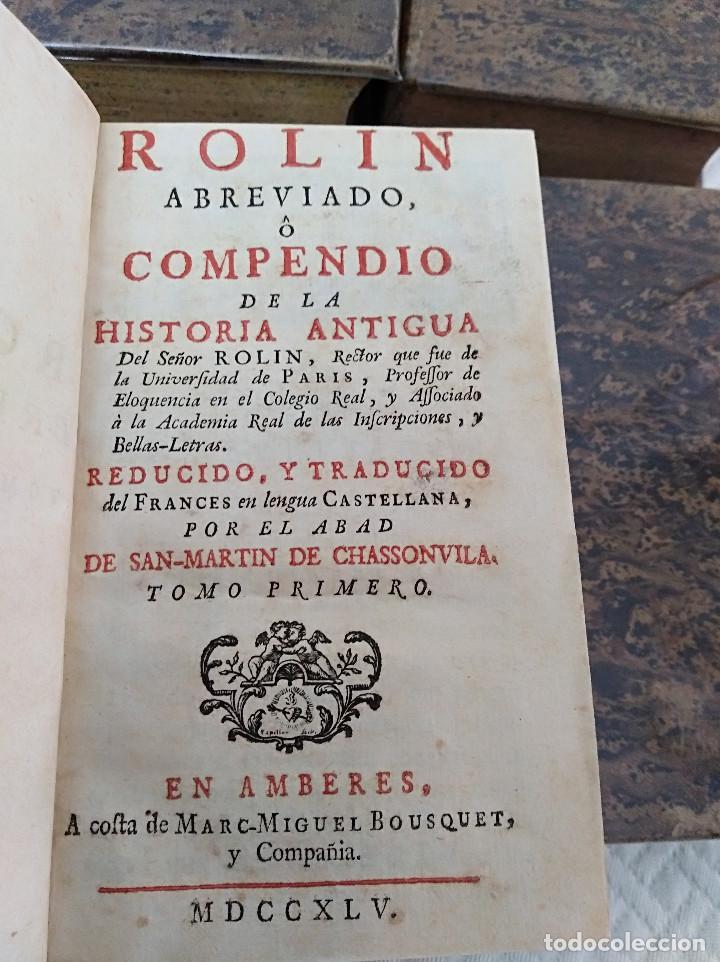 Libros antiguos: Edición Lujo-Compendio de la historia antigua o Rolin abreviado COMPLETO - AMBERES 1745. 6 Tomos - Foto 3 - 41240551