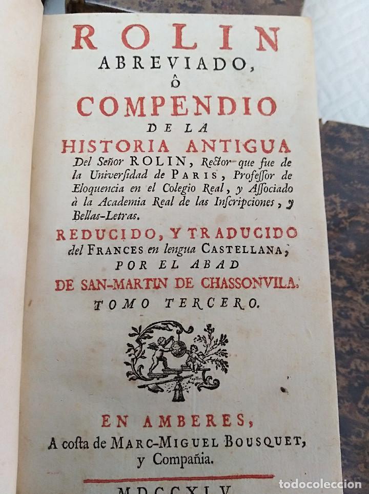 Libros antiguos: Edición Lujo-Compendio de la historia antigua o Rolin abreviado COMPLETO - AMBERES 1745. 6 Tomos - Foto 8 - 41240551