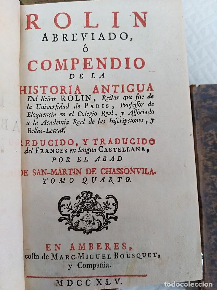 Libros antiguos: Edición Lujo-Compendio de la historia antigua o Rolin abreviado COMPLETO - AMBERES 1745. 6 Tomos - Foto 14 - 41240551