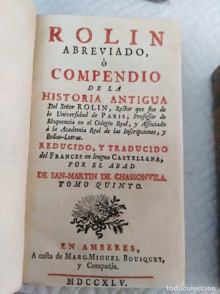 Libros antiguos: Edición Lujo-Compendio de la historia antigua o Rolin abreviado COMPLETO - AMBERES 1745. 6 Tomos - Foto 16 - 41240551