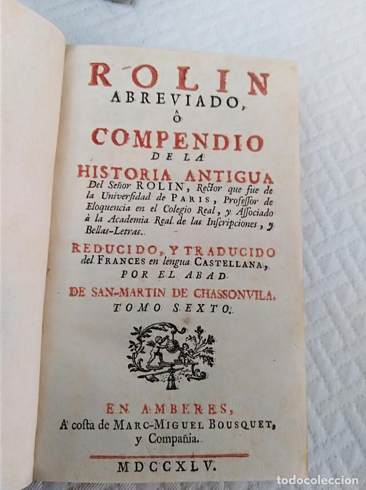 Libros antiguos: Edición Lujo-Compendio de la historia antigua o Rolin abreviado COMPLETO - AMBERES 1745. 6 Tomos - Foto 20 - 41240551