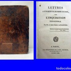 Libros antiguos: AÑO 1822. CARTAS DE UN RUSO SOBRE LA INQUISICIÓN ESPAÑOLA. MUY RARO. SIGLO XIX. 200 AÑOS.. Lote 212923098