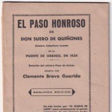 Libros antiguos: CLEMENTE BRAVO GUARIDA: EL PASO HONROSO DE DON SUERO DE QUIÑONES EN 1434. LEÓN, 1934.. Lote 213770656