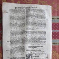 Libri antichi: 1507-HOJA POST-INCUNABLE.ENEIDA, BUCÓLICAS Y GEÓRGICAS.PUBLIO VIRGILIO MARÓN.ORIGINAL. Lote 213869042
