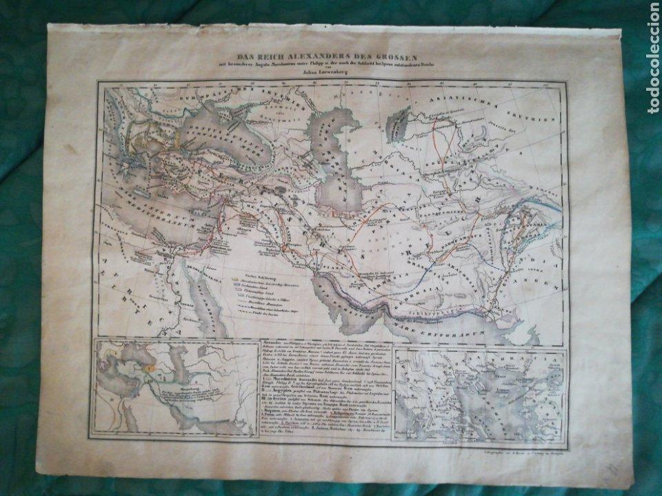 MAPA ANTIGUO ALEJANDRO MAGNO. LÁMINA EN ALEMÁN. (Libros antiguos (hasta 1936), raros y curiosos - Historia Antigua)