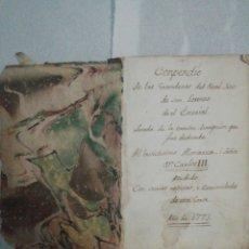Libros antiguos: COMPENDIO MUY ANTIGUO, GRANDEZAS DEL REAL SITIO SAN LORENZO DEL ESCORIAL AL MONARCA CARLOS III 1773. Lote 218346082