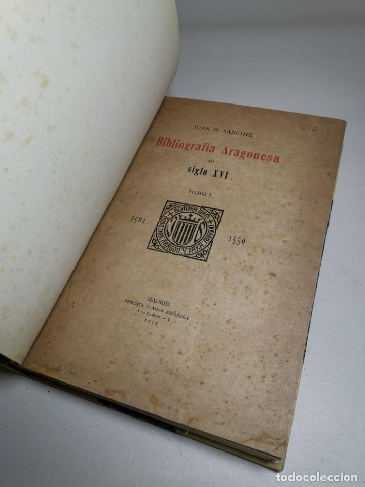 Libros antiguos: BIBLIOGRAFÍA ARAGONESA DEL SIGLO XVI ( 1501-1550 ) JUAN M. SÁNCHEZ 1913 papel de hilo 1/150.TOMO I.. - Foto 22 - 219274582