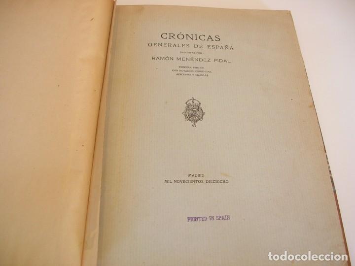 RAMÓN MENÉNDEZ PIDAL. CRÓNICAS GENERALES DE ESPAÑA (Libros antiguos (hasta 1936), raros y curiosos - Historia Antigua)