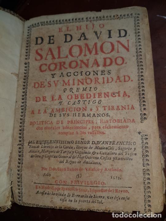 EL HIJO DE DAVID SALOMON CORONADO Y ACCIONES DE SU MINORIDAD, PREMIO DE LA OBEDIENCIA Y CASTIGO A LA (Libros antiguos (hasta 1936), raros y curiosos - Historia Antigua)