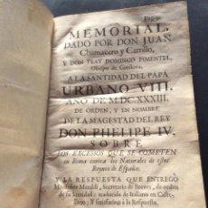 Libros antiguos: MEMORIAL DADO POR DON JUAN CHUMACERO Y CARRILLO Y DOMINGO PIMENTEL OBISPO DE CÓRDOBA 1633. Lote 234963855