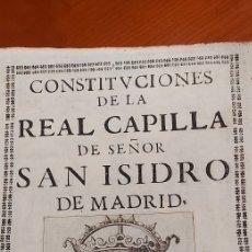 Libri antichi: CONSTITUCIONES DE LA REAL CAPILLA DEL SEÑOR SAN ISIDRO DE MADRID, 1679 , PRIMERA EDICION.. Lote 241197880