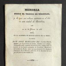 Libri antichi: 1838 MEMORIA SOBRE EL TEMPLO DE HÉRCULES, Y DE SUS SEIS COLUMNAS EXISTENTES EN ESTA CIUDAD BARCELONA. Lote 244179505