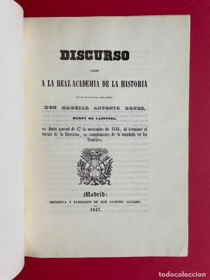 Libros antiguos: 1847 - DISCURSO A LA REAL ACADEMIA ESPAÑOLA - BARON DE LAJOYOSA - Foto 2 - 244431485