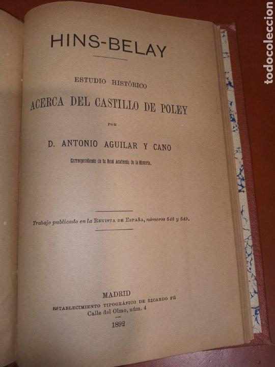 HINS - BELAY ESTUDIO HISTÓRICO ACERCA DEL CASTILLO DE POLEY AGUILAR Y CANO 1892 (Libros antiguos (hasta 1936), raros y curiosos - Historia Antigua)