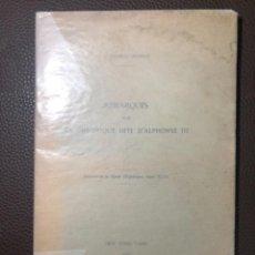 Libros antiguos: BARRAU DIHIGO CHRONIQUE ALPHONSE III. Lote 244849720