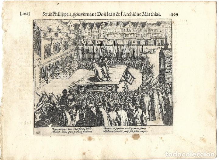 1616 GRABADO DEL LIBRO LAS GUERRAS DE NASSAU. EJECUCIÓN POR DECAPITACIÓN A UN NOBLE FLAMENCO REBELDE (Libros antiguos (hasta 1936), raros y curiosos - Historia Antigua)