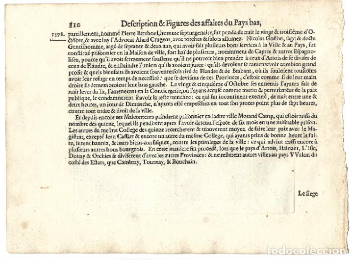 Libros antiguos: 1616 Grabado del Libro Las Guerras de Nassau. Ejecución por decapitación a un noble flamenco rebelde - Foto 2 - 244879755