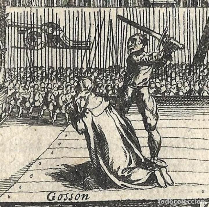 Libros antiguos: 1616 Grabado del Libro Las Guerras de Nassau. Ejecución por decapitación a un noble flamenco rebelde - Foto 3 - 244879755