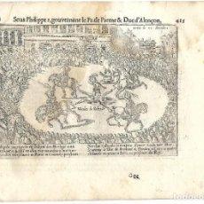 Libros antiguos: 1616 GRABADO DEL LIBRO LAS GUERRAS DE NASSAU. EJECUCIÓN A N. SALCEDO POR DESCUARTIZACIÓN EN PARÍS. Lote 245351900