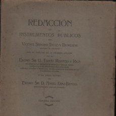 Libros antiguos: LIBRO REDACCION - INSTRUMENTOS PÚBLICOS POR VICENTE SANCHO TELLO Y BURGUETE 1929. Lote 246322875