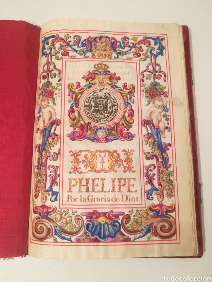 Libros antiguos: Espectacular libro manuscrito iluminado a mano otorgando un marquesado de firmado Felipe V año 1744 - Foto 2 - 246535815