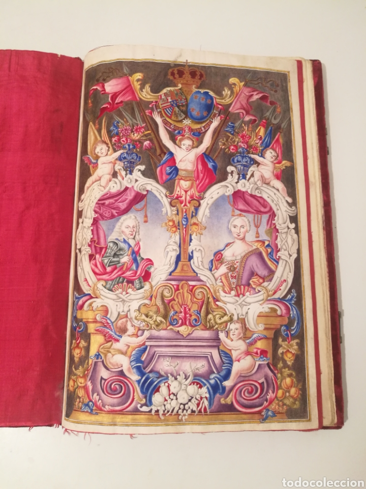 Libros antiguos: Espectacular libro manuscrito iluminado a mano otorgando un marquesado de firmado Felipe V año 1744 - Foto 3 - 246535815