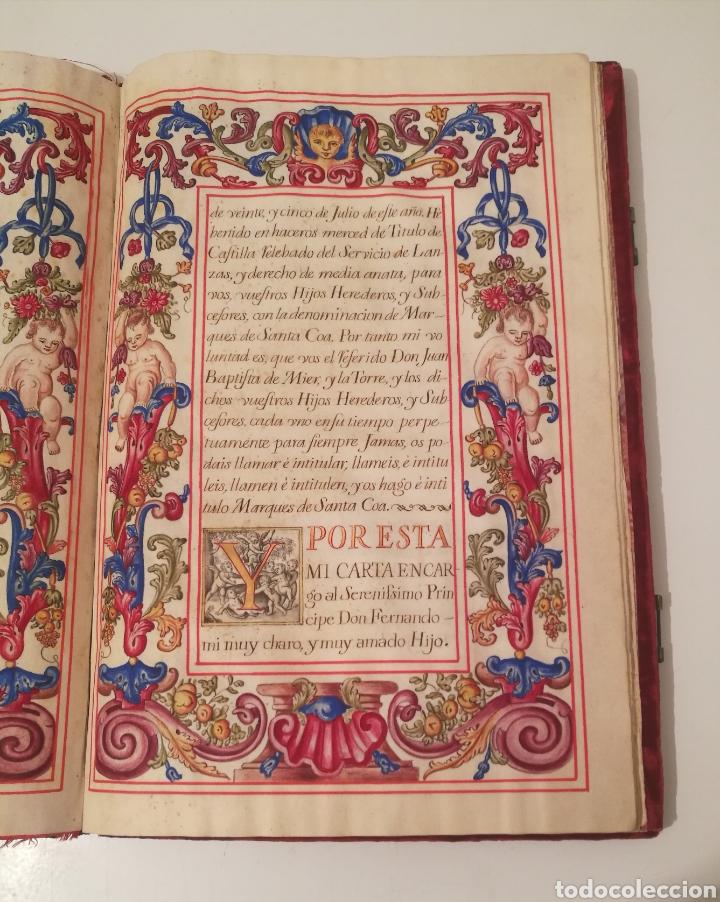 Libros antiguos: Espectacular libro manuscrito iluminado a mano otorgando un marquesado de firmado Felipe V año 1744 - Foto 5 - 246535815