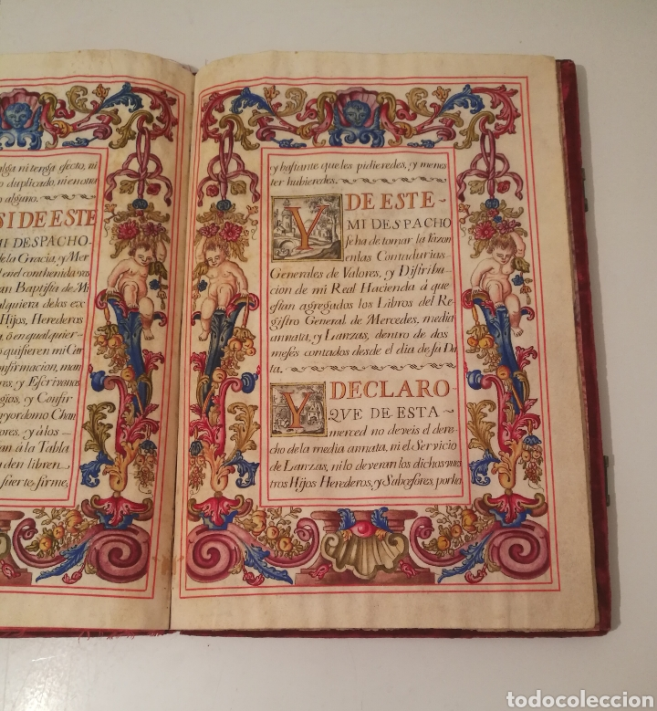 Libros antiguos: Espectacular libro manuscrito iluminado a mano otorgando un marquesado de firmado Felipe V año 1744 - Foto 6 - 246535815
