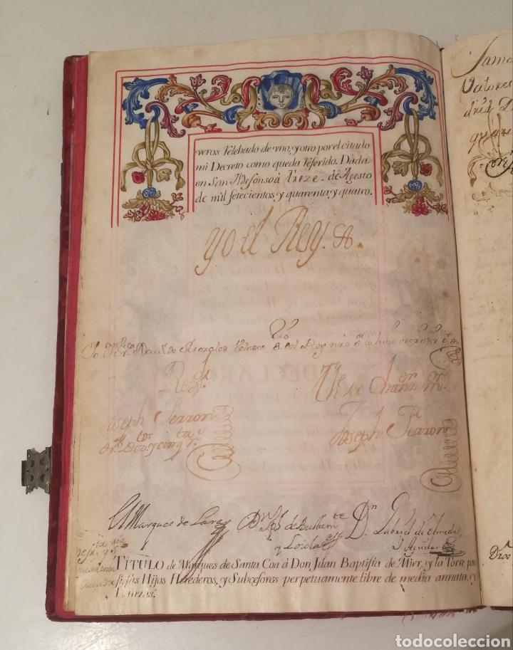 Libros antiguos: Espectacular libro manuscrito iluminado a mano otorgando un marquesado de firmado Felipe V año 1744 - Foto 7 - 246535815