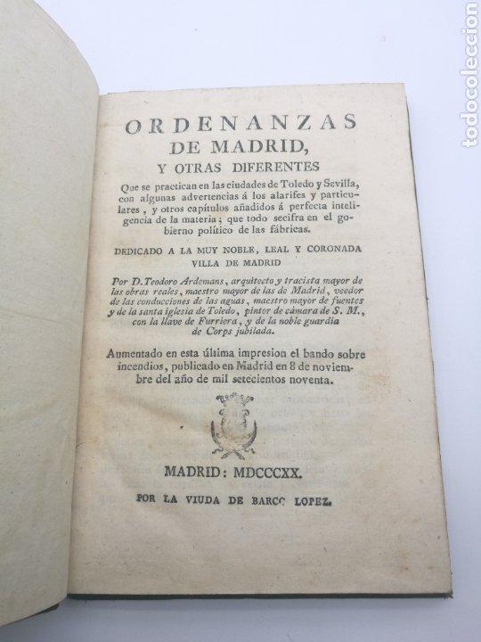 ORDENANZAS DE MADRID Y OTRAS DIFERENTES AÑO 1820 (Libros antiguos (hasta 1936), raros y curiosos - Historia Antigua)