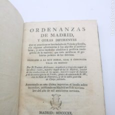 Libros antiguos: ORDENANZAS DE MADRID Y OTRAS DIFERENTES AÑO 1820. Lote 256021265