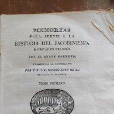 Libros antiguos: MEMORIAS PARA SERVIR A LA HISTORIA DEL JACOBINISMO/TOMO PRIMERO /MALLORCA 1813, PYMY X. Lote 261841940