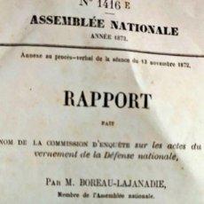 Libros antiguos: RARO LIBRO FRANCÉS DEL SIGLO XIX. ASSEMBLÉE NATIONALE 1872. Lote 263130705